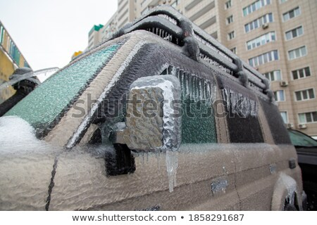 thick winter frost on ground from a car window stock photo © frankljr