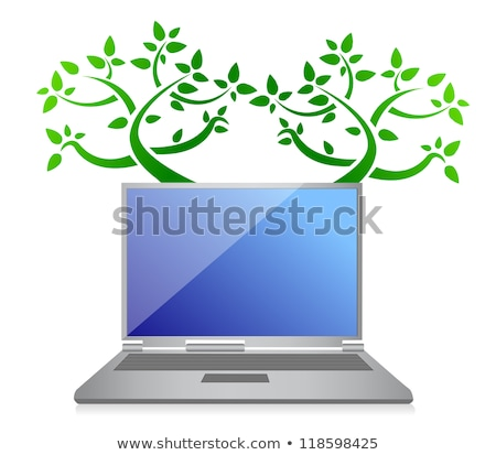 Eco Tree Laptop Illustration Design Over White Background Photo stock © alexmillos
