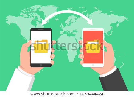 Hand with mobile smart phone transfering files to cloud folder Stock photo © stevanovicigor