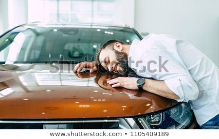 álom autó fiatal srác néz piros gondolkodik Stock fotó © hyrons