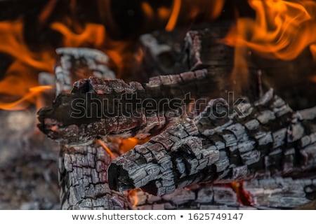 Foto stock: Hoguera · fuego · madera · noche · llama