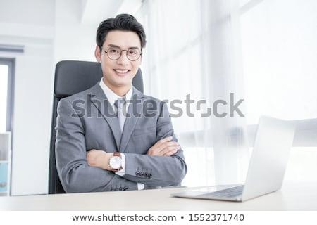 ázsiai · fiatal · üzletember · portré · fehér · üzlet - stock fotó © elwynn