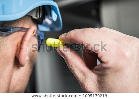Fül narancs szín ipari törődés biztonság Stock fotó © dezign56