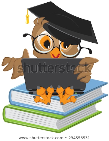 owl sitting on books and holding a laptop stock photo © orensila
