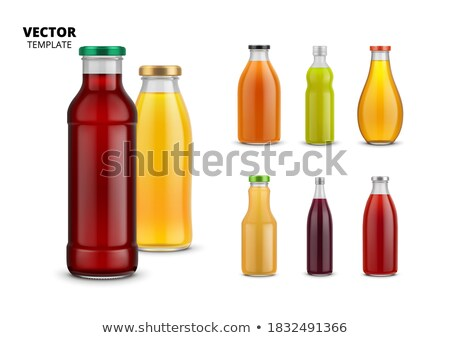 vector icons set with a carrot and glass of juice. Healthy food concept  Stock photo © maximmmmum