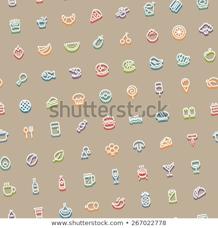 Color Tilted Seamless Pattern with Stroke Food Icons Stock photo © Voysla