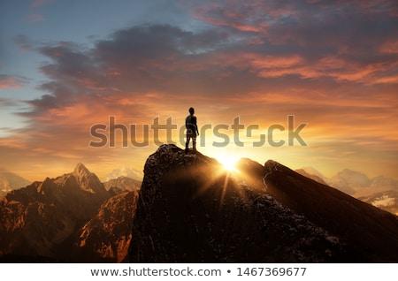 Man silhouetten bereiken Stockfoto © solarseven