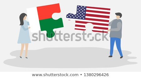 USA Madagaszkár zászlók puzzle vektor kép Stock fotó © Istanbul2009