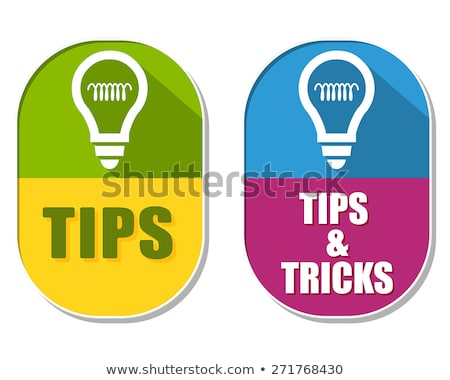 tips and tricks with bulb symbols, two elliptical labels Stock photo © marinini