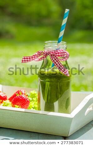 Zdjęcia stock: Butelki · wstążka · drewna · jabłko · fitness