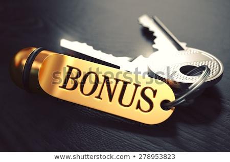 sleutels · woord · bod · gouden · label · zwarte - stockfoto © tashatuvango