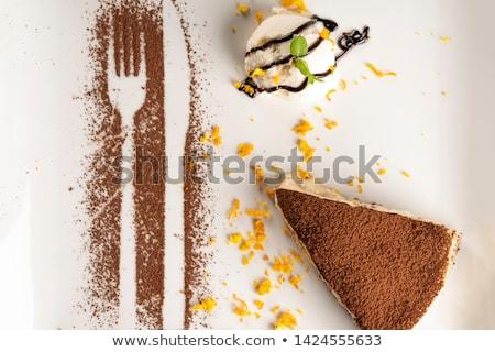 Desszert tányér étterem süti fagylalt torta Stock fotó © Ainat