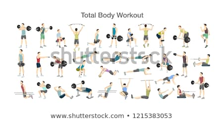 Woman and man workout with barbell on bench Stock photo © deandrobot