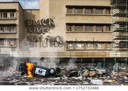 Antidisturbios policía unidad espera ciudad calle Foto stock © 5xinc
