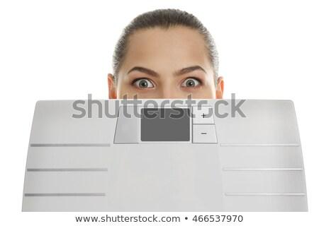 Nők mögött túlsúlyos néz mérleg fürdőszoba Stock fotó © Mikko