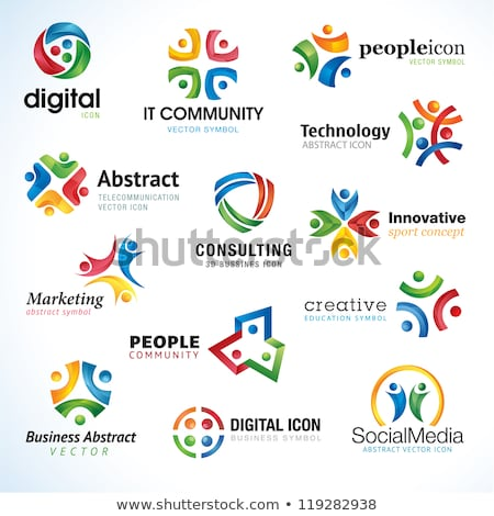 people in circle abstract icon design stock photo © blaskorizov