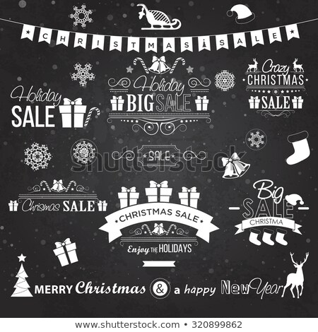 christmas sale design set   labels emblems on black board stock photo © netkov1