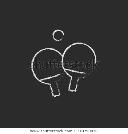 настольный теннис ракетка мяча икона мелом Сток-фото © RAStudio