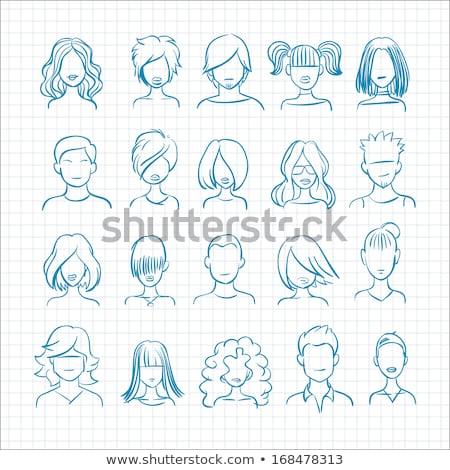 Firka nő ikon kék toll kézzel rajzolt Stock fotó © pakete