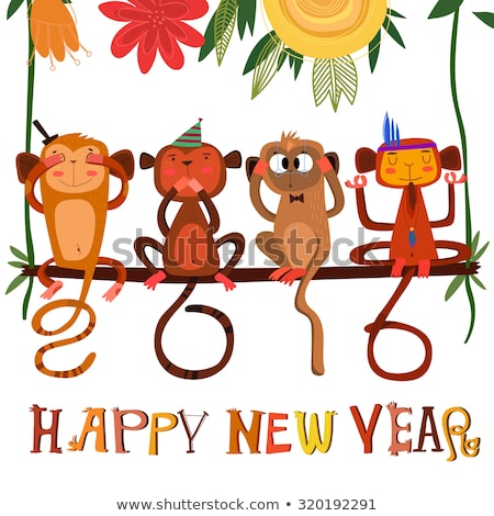 merry monkey holiday concept for new years 2016 stock photo © cookelma