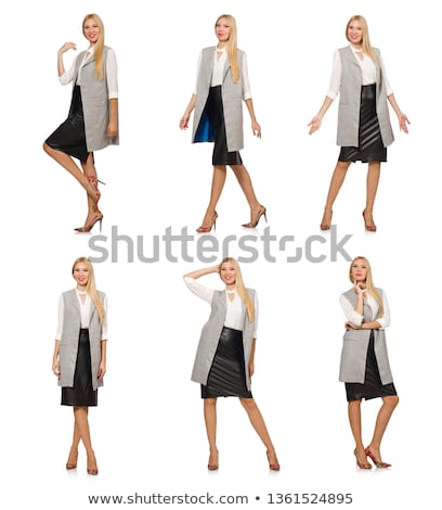 Blondie in leatner clothing isolated on white Stock photo © Elnur