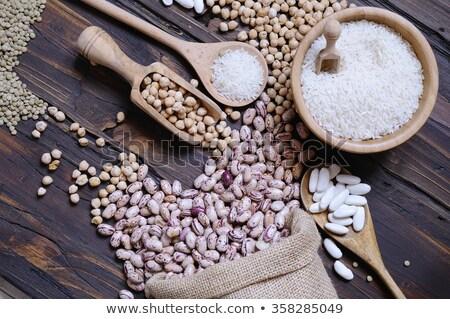 branco · arroz · colher · madeira · grão · refeição - foto stock © asturianu