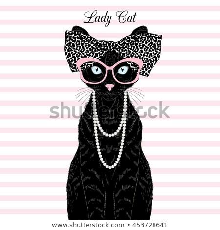 ilustração · gato · pérola · colar - foto stock © gigi_linquiet