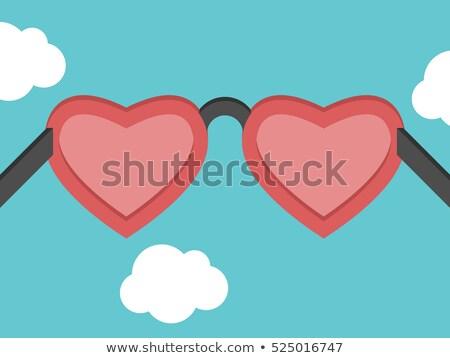 elegant blue frame in the shape of heart eps 8 stock photo © beholdereye