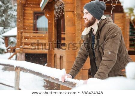 Homem barba em pé inverno floresta tempo Foto stock © deandrobot