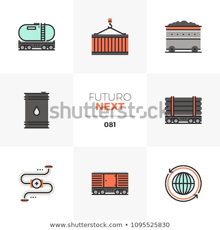 Spoorweg lijn icon hoeken web Stockfoto © RAStudio
