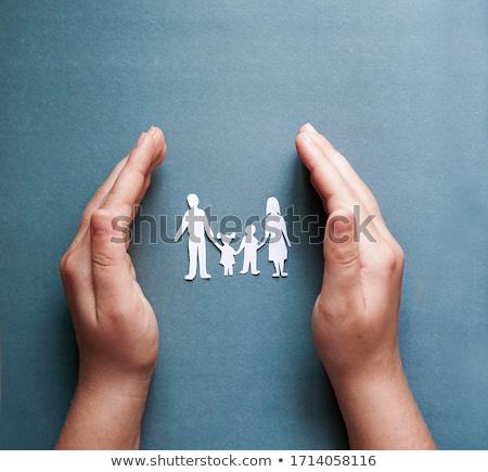 Család védelem üzletember kezek ikon gyerekek Stock fotó © andreasberheide