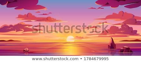 nautique · cartoon · paysages · papier · bateau · vagues - photo stock © pakete