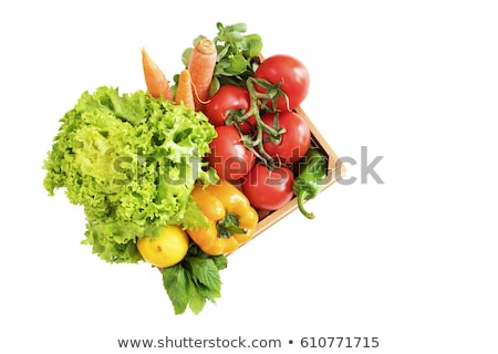 Crate of fresh green peppers from top view Stock photo © ozgur