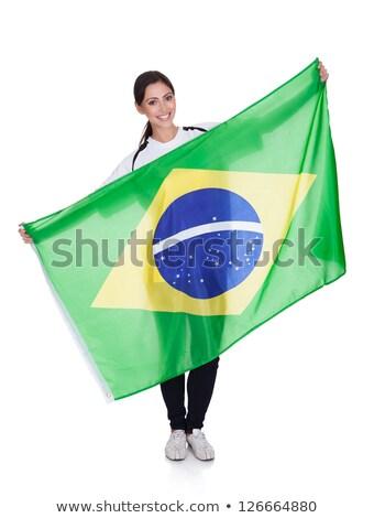 güzel · genç · fan · kız · bayrak - stok fotoğraf © orensila