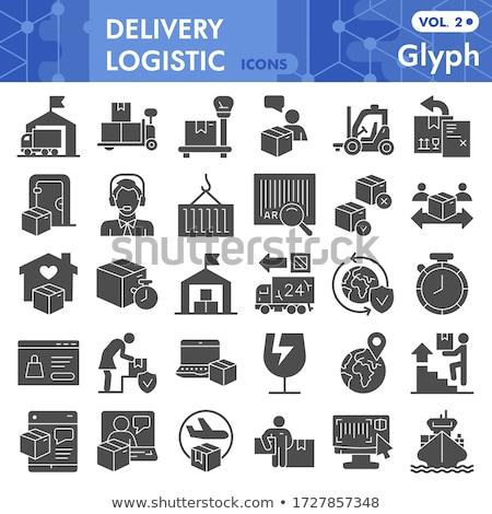 Logistics icons set on grey background Stock photo © Photoroyalty