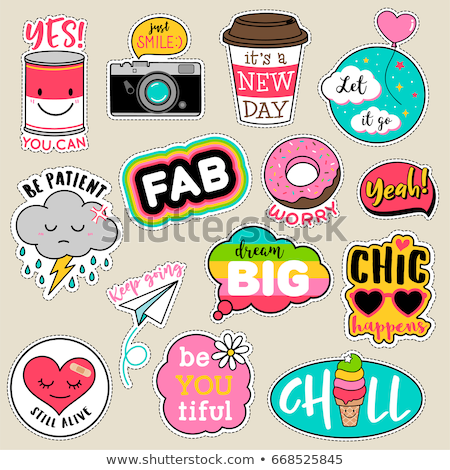 Cute embroidery patches and stickers collection. Stock photo © TrishaMcmillan
