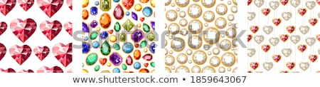 Jewelry ruby red heart seamless pattern. Brilliant, gems hearts endless background, texture, wallpap Stock photo © lucia_fox