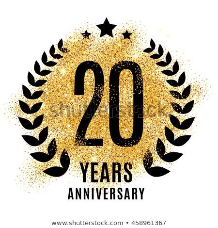 Jahrestag Feier Abzeichen Label golden Farbe Stock foto © SArts