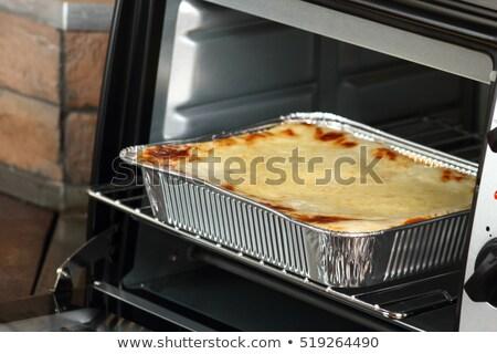 Lasaña horno plato cuchara alimentos Foto stock © monkey_business