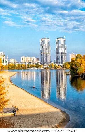 市 · 午前 · 美しい · 赤 · 青空 - ストックフォト © joyr