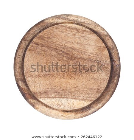 Round wooden board and knife on a white background stock photo © d_duda