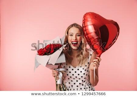 Stockfoto: Aantrekkelijk · liefde · brunette · vrouw · ballonnen · boeket