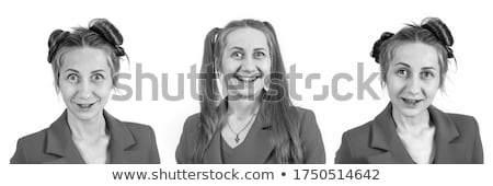 young pretty blonde hair woman happy smiling isolated on white b Stock photo © iordani