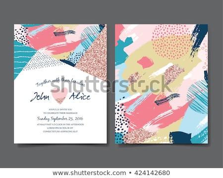 Mettre date invitation de mariage carte peinture mariage Photo stock © SArts