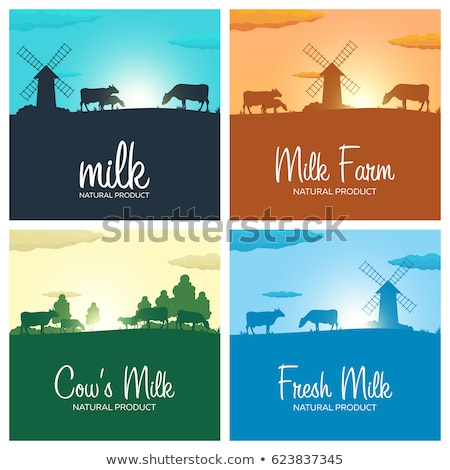 set of milk banners milk natural product rural landscape with mill and cows dawn in the village stock photo © leo_edition