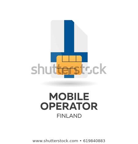Móviles operador tarjeta bandera resumen diseno Foto stock © Leo_Edition