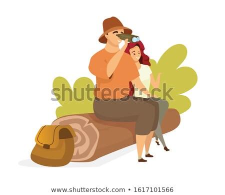 Erkek oturma dürbün orman özgürlük Stok fotoğraf © wavebreak_media