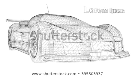 car wheels with white poster white background 3d rendering stock photo © user_11870380