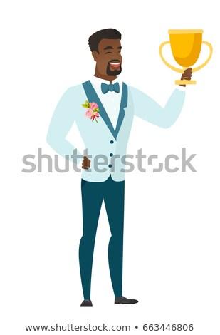 Pan młody trofeum Afryki ślub garnitur Zdjęcia stock © RAStudio