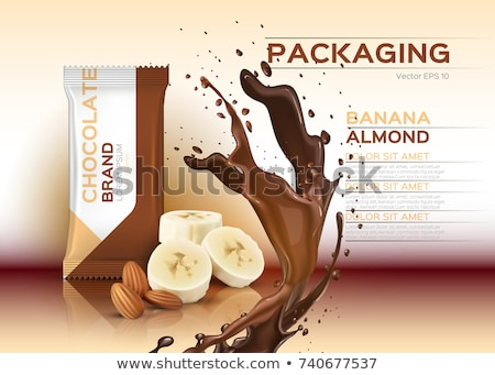 Chocolate with banana and almonds Vector realistic mock up. Stock photo © frimufilms